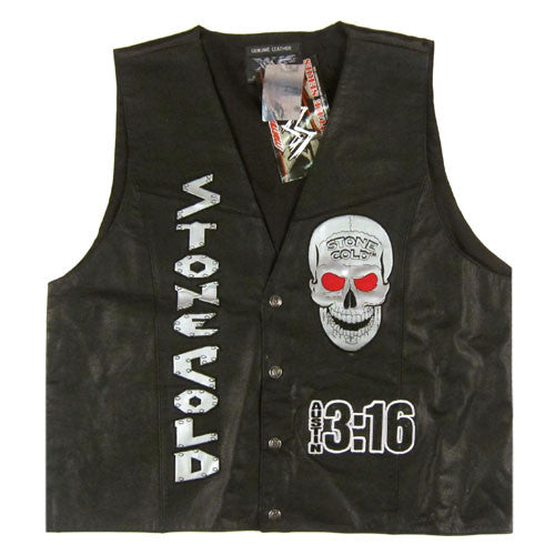 Vintage Stone Cold 3:16 WWF Leather Vest NWT