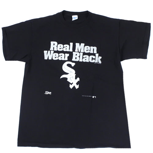 Vintage Real Men Wear Black White Sox T-shirt