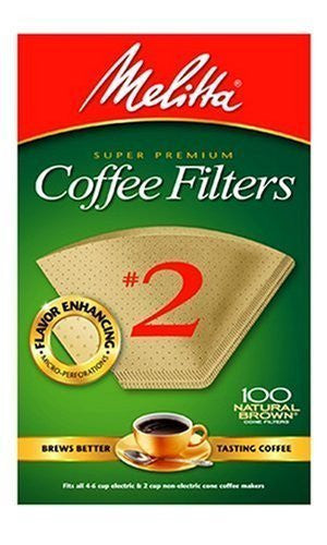Melitta Cone Coffee Filters, Natural Brown, No. 2, 100-Count Filters