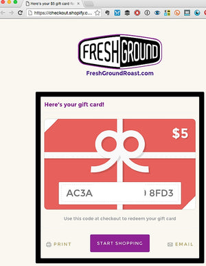 FreshGround Roasting FreshGround Roast eGift Card - 2
