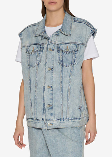 Folding Oversized Light Indigo Denim Vest Jacket