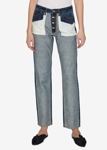 Inside Out Straight-Leg Indigo Jeans