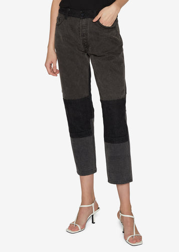 Two-tone Straight Leg Cropped Jeans