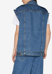 Folding Oversized Denim Vest Jacket