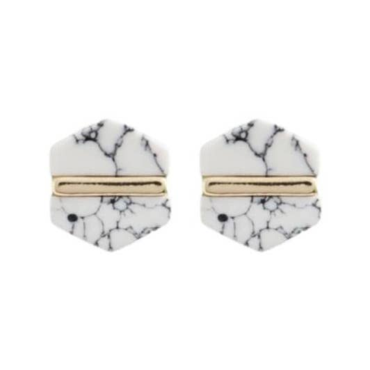 Earrings- Marble Hexagon Studs