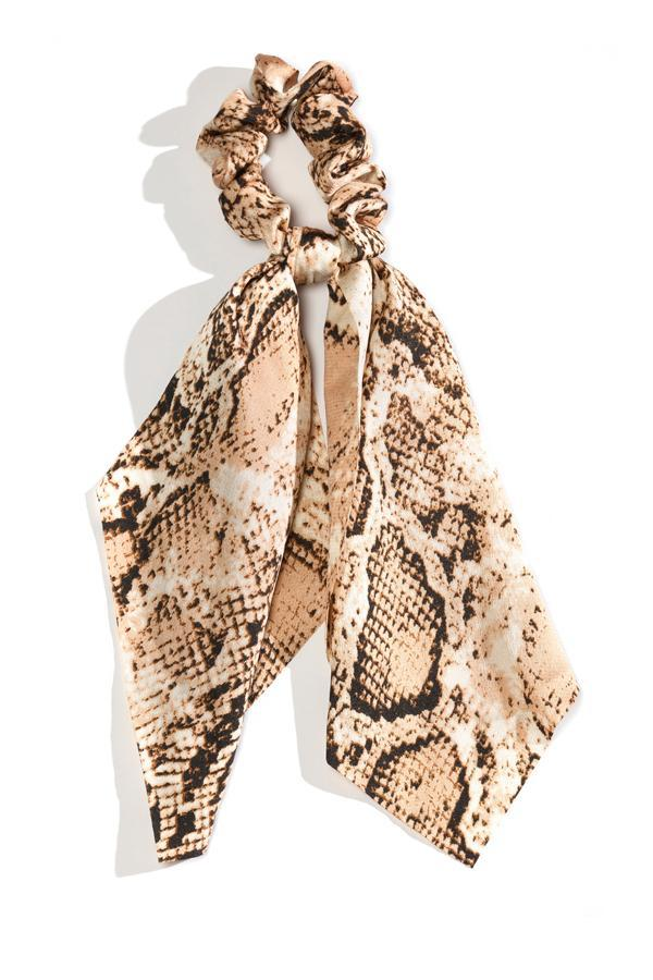 Load image into Gallery viewer, Snake Skin Scarf Scrunchie- Brown