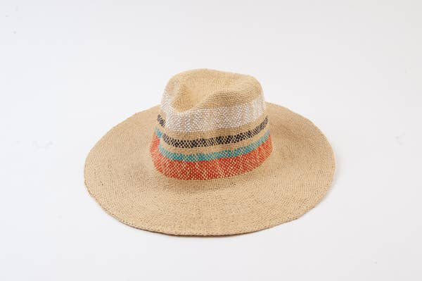 Straw Hat with color stripe