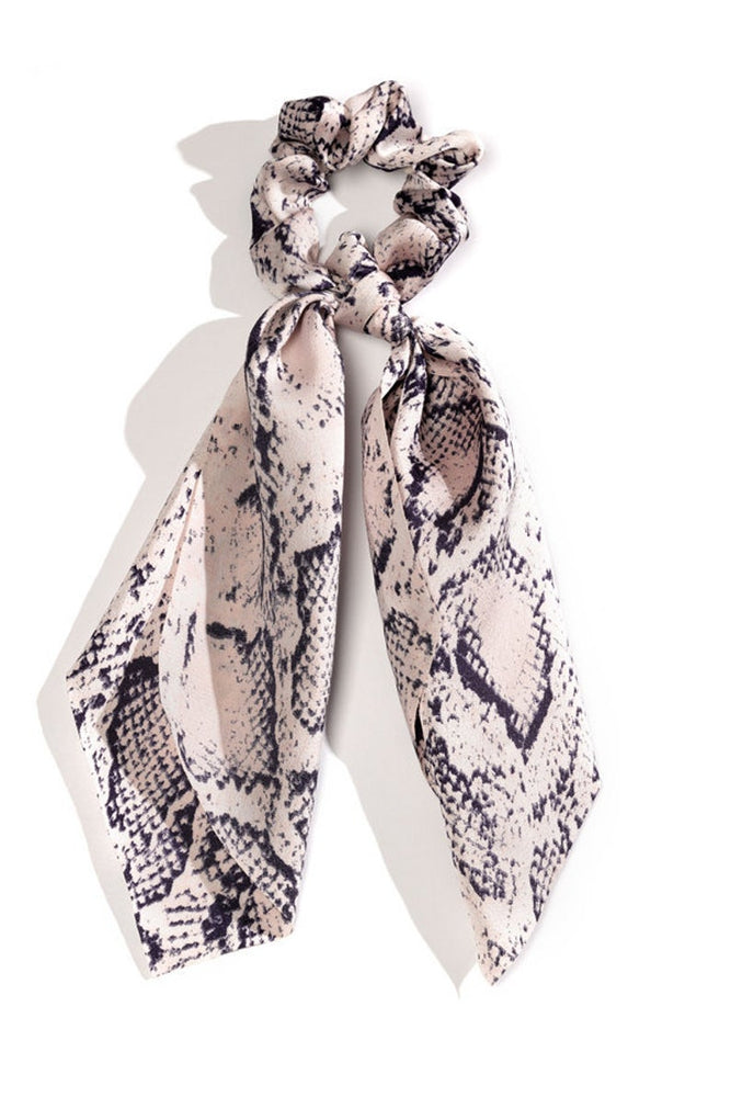 Load image into Gallery viewer, Grey Snake Skin Scarf Scrunchie