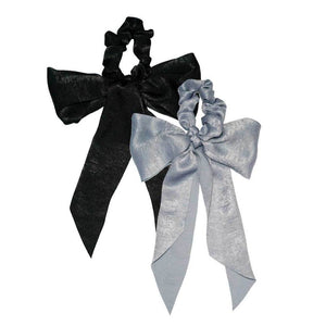 SATIN SCARF SCRUNCHIES - BLACK/GRAY