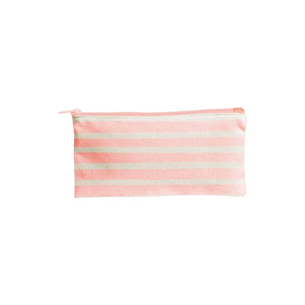 Canvas Pouch-stripes peach