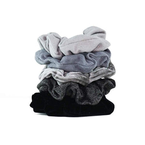 Load image into Gallery viewer, VELVET SCRUNCHIES - BLACK/GRAY