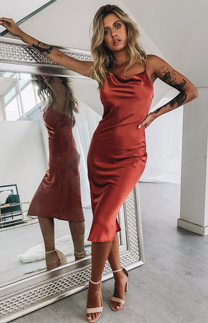 Schiffer Slip Midi Dress Rust