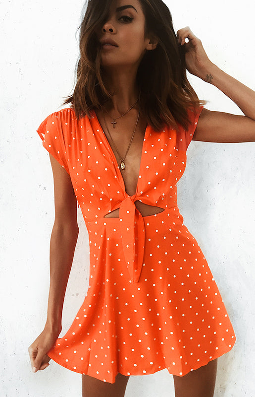 Thinking About You Dress Tangerine Polka