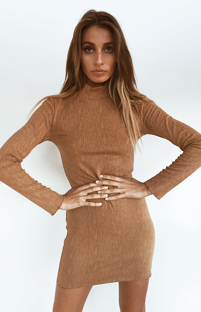 Emma Long Sleeve Mini Dress Tan