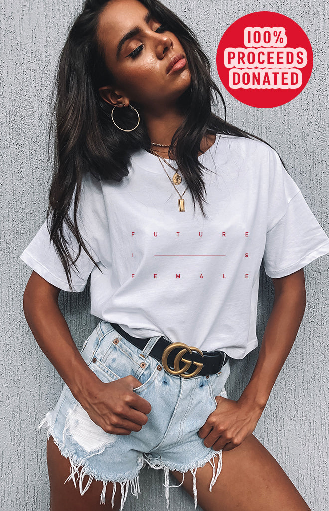 The Future Is Female Cropped Tee White