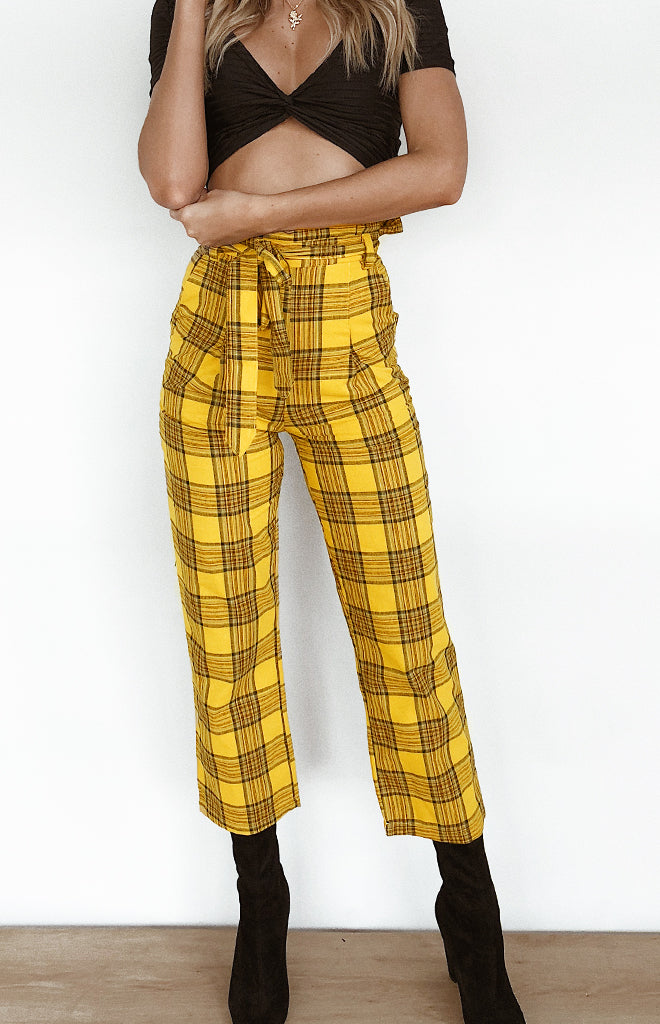 High Road Pants Yellow Plaid