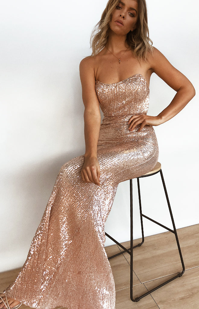 Crystal Ball Formal Dress Gold