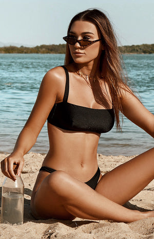 9.0 Swim Bahamas Bikini Bottoms Metallic Black