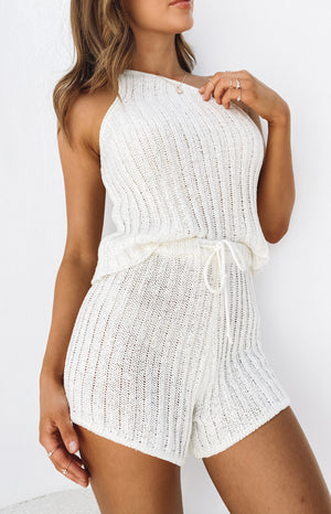 Brandy Two Piece Set White Knit