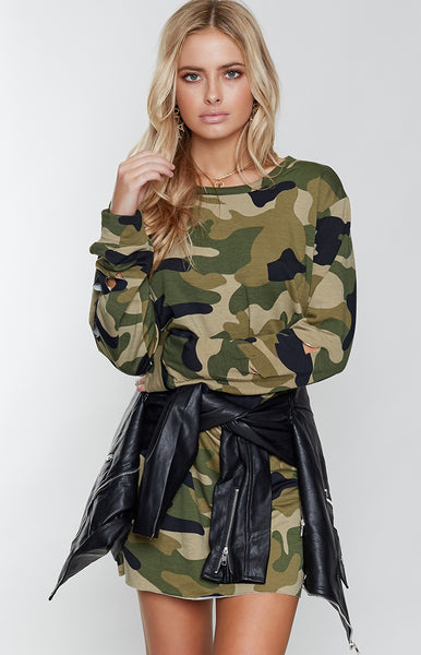 Stay Wild Sweater Dress Camo
