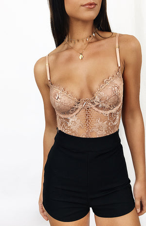 Allure Lace Bodysuit Nude