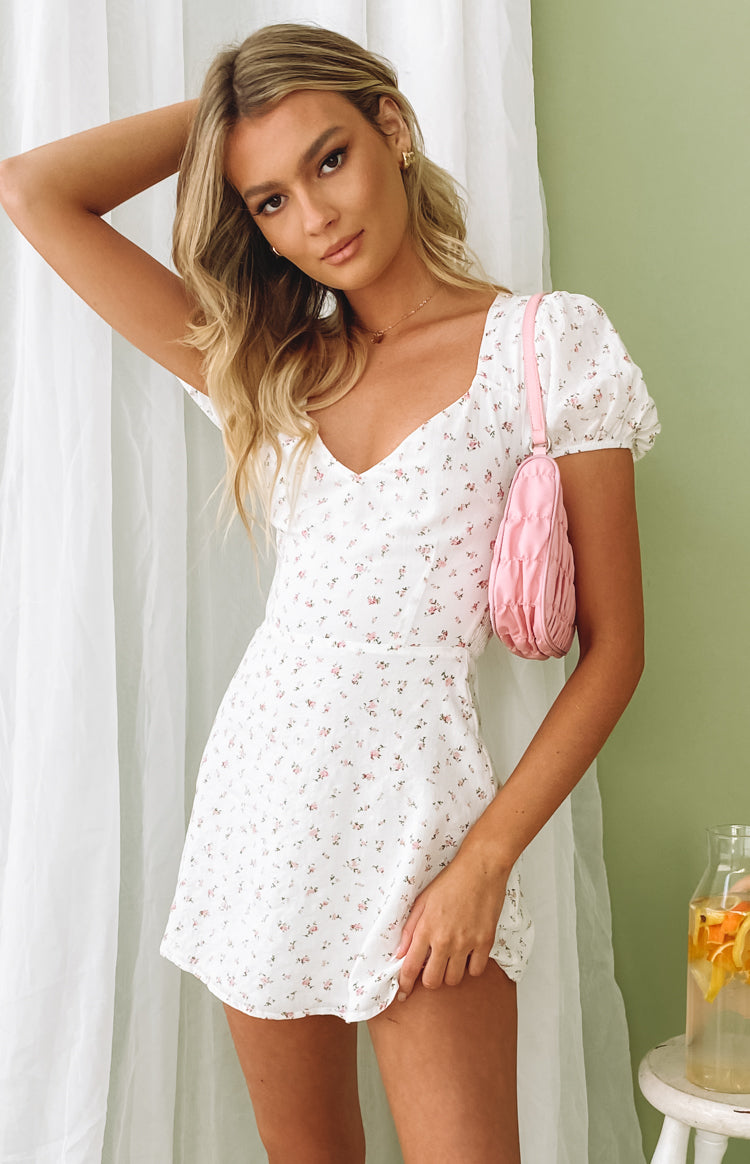 Abigail Mini Dress White Floral