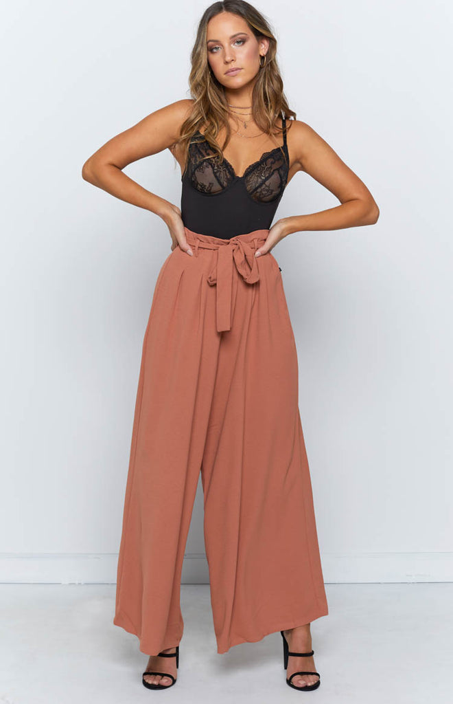 Adele Wide Leg Pants Rust