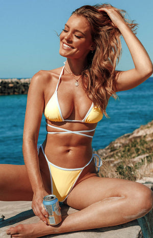 9.0 Swim x Ariella Adella Tie Bikini Bottoms Yellow and White