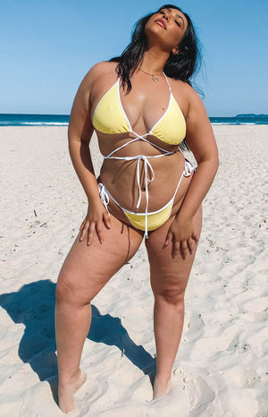 9.0 Swim x Ariella Adella Wrap Bikini Top Yellow and White