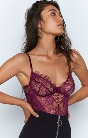 Allure Lace Bodysuit Plum