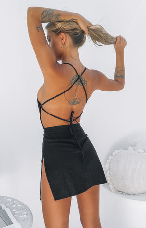 Amara Backless Mini Dress Black