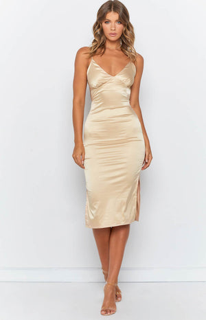 Angelic Lane Slip Dress Champagne