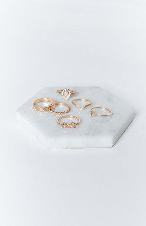 Eclat Bentley Rose Ring Set Gold