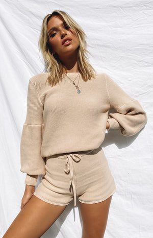Berkley Ballon Knit Sweater Tan