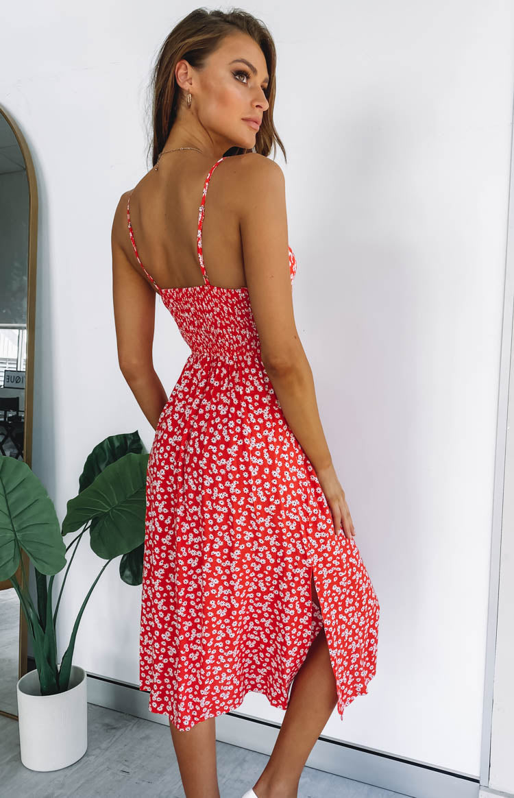 Bettie Midi Dress Red Floral
