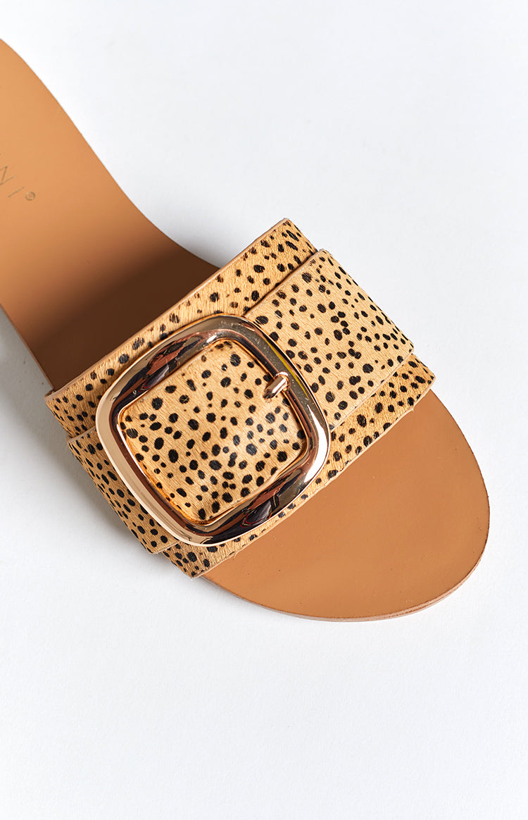 Billini Myah Slides Tan Cheetah Pony