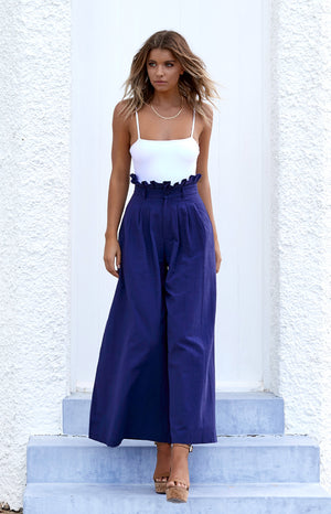 Bower Wide Leg Linen Pants Navy