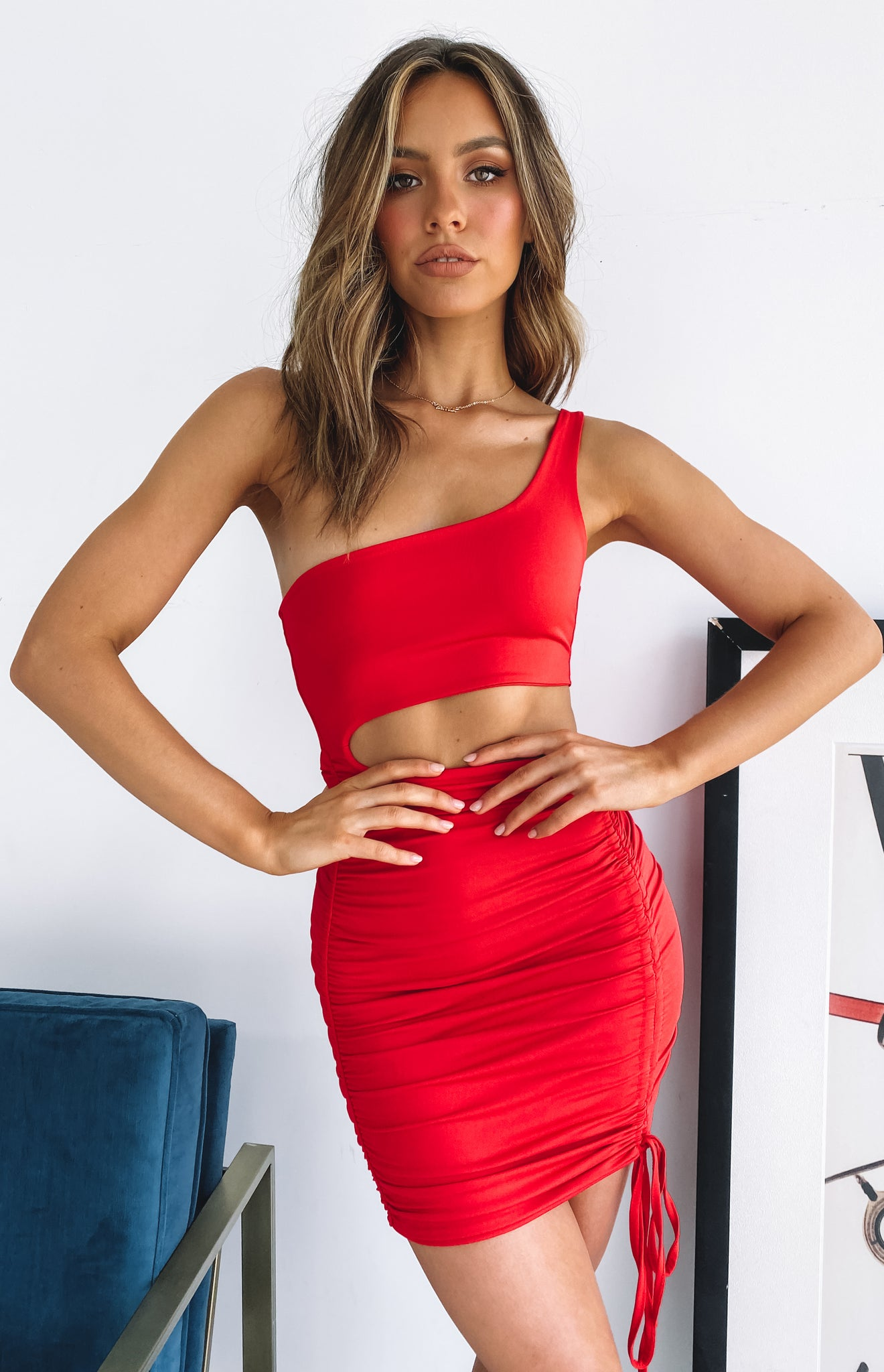 Break Up One Shoulder Dress Red