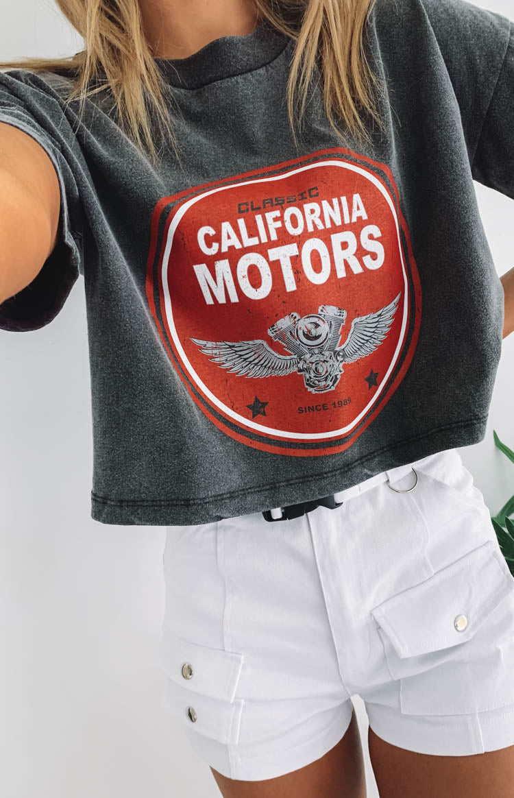 California Motors Cropped Boxy Tee Black Acid Wash