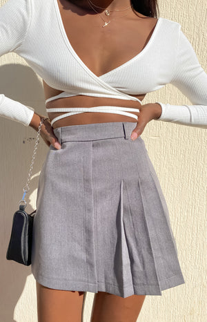 Call Your Name Skirt Grey