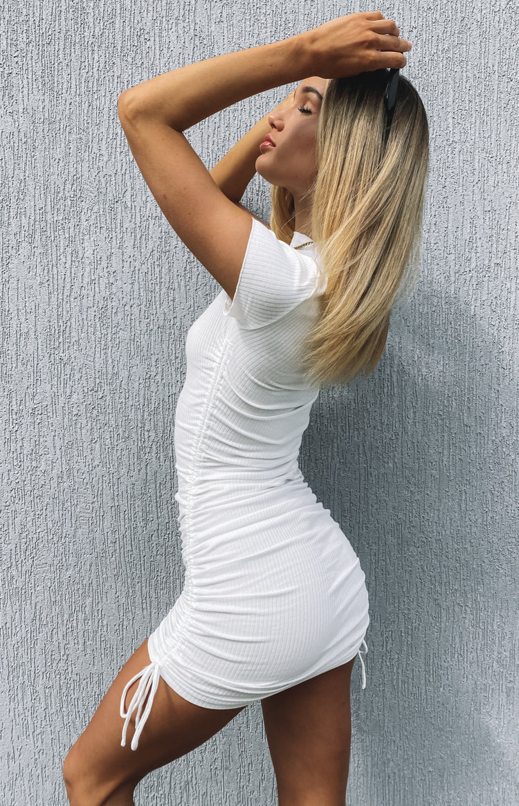 Cara Ribbed Drawstring Dress White