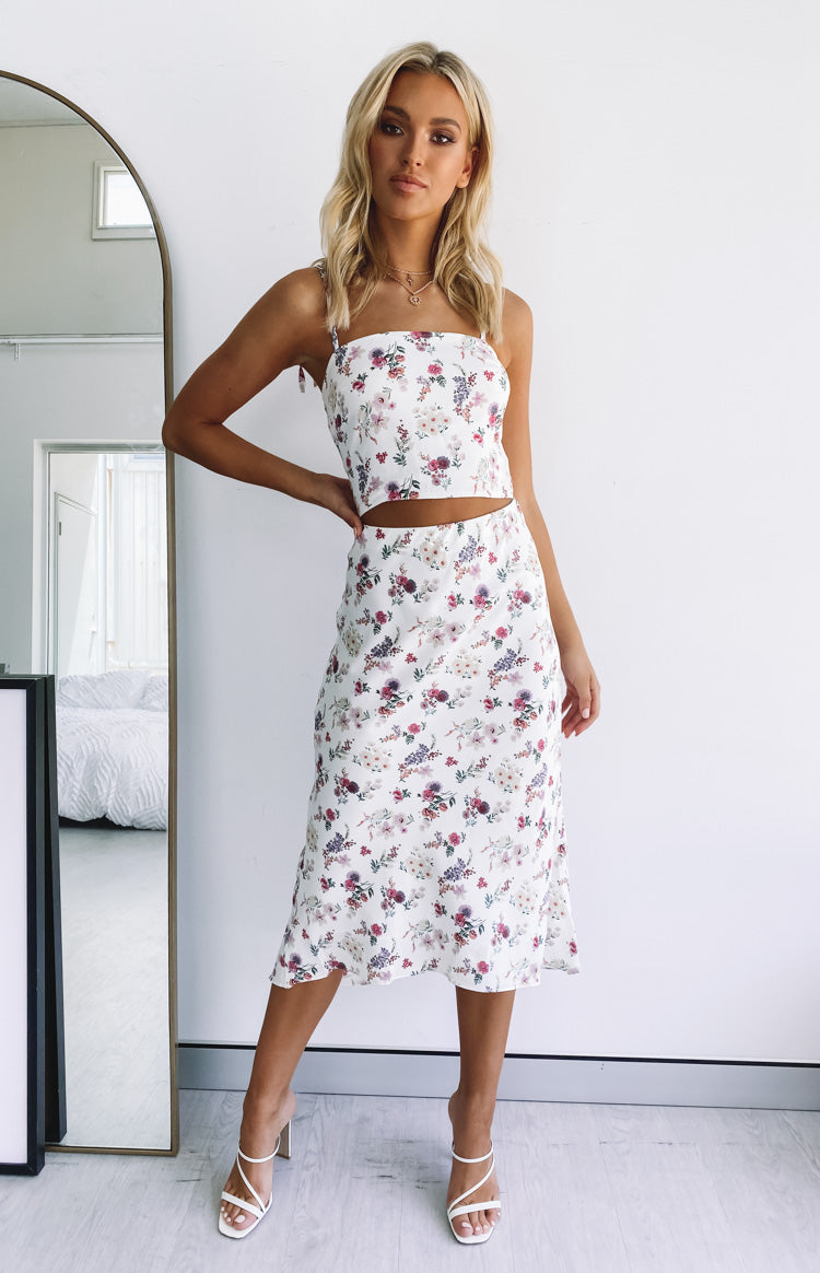 Cecily Crop Top White Floral