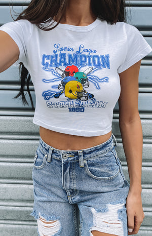 Champions Cropped Printed Tee White