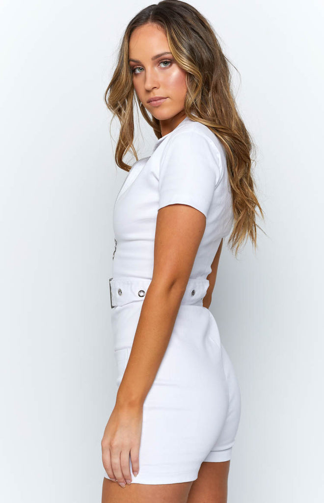 46bbbf3ee3 Charlie Zip Up Romper White – Beginning Boutique