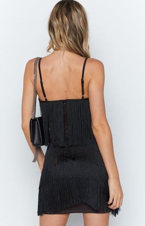 Chicago Fringe Dress Black