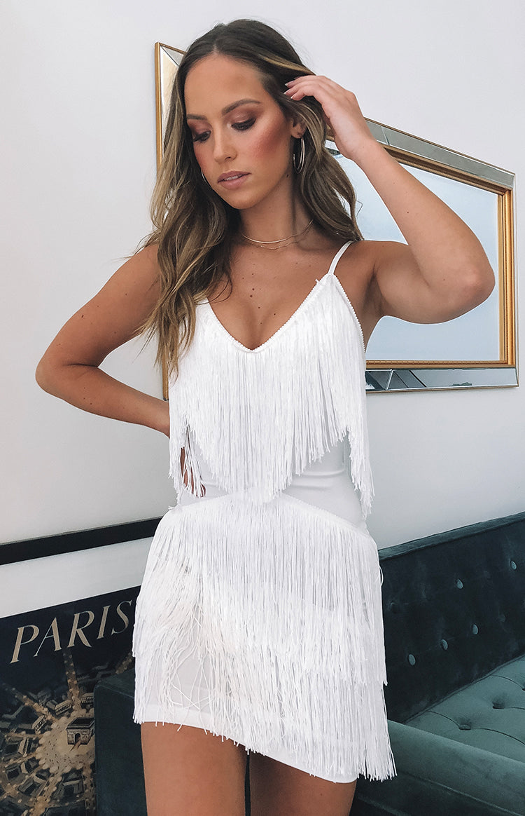 chicago fringe dress white