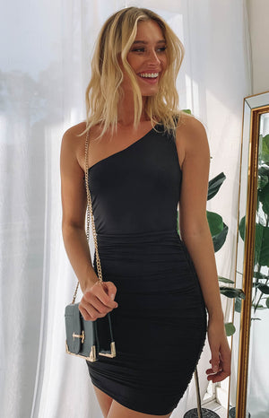 City Nights One Shoulder Dress Black