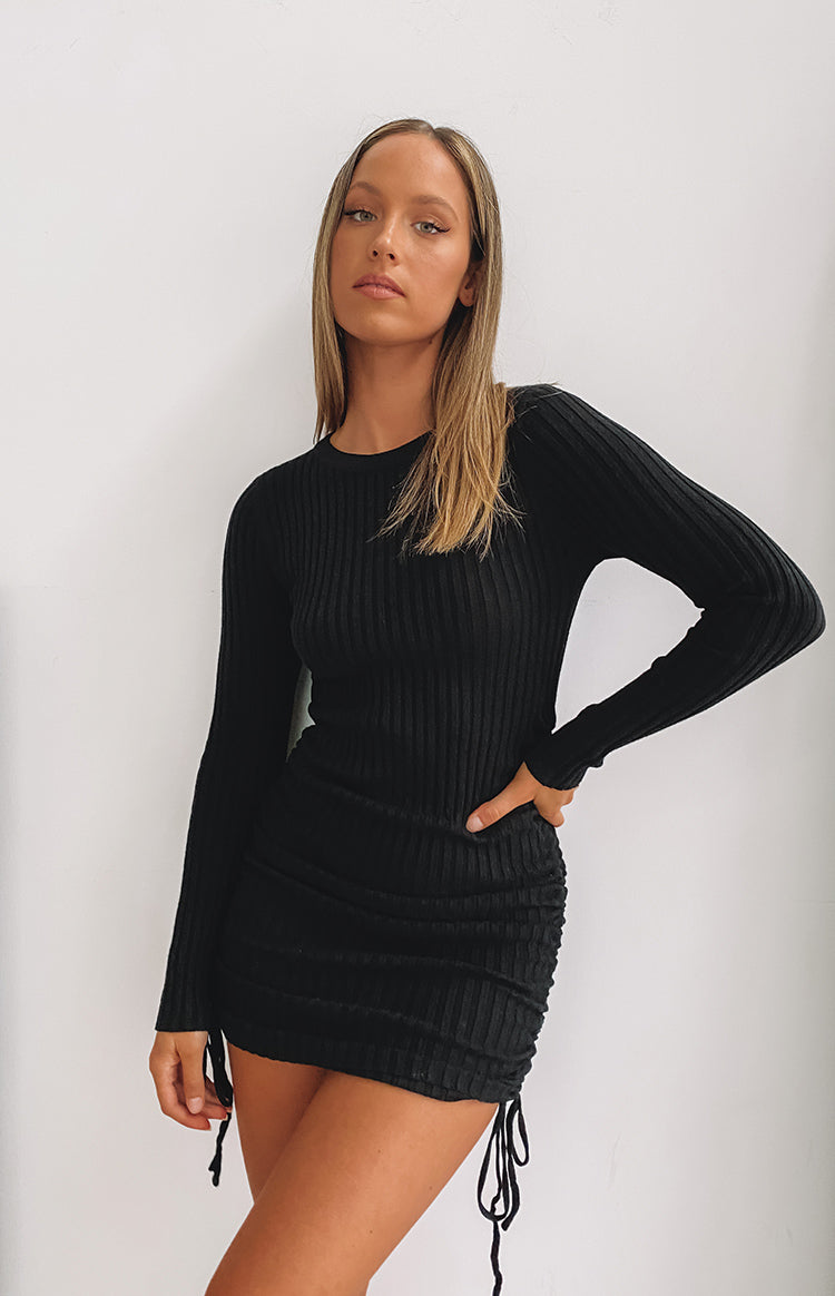 Curved Long Sleeve Ribbed Dress Black