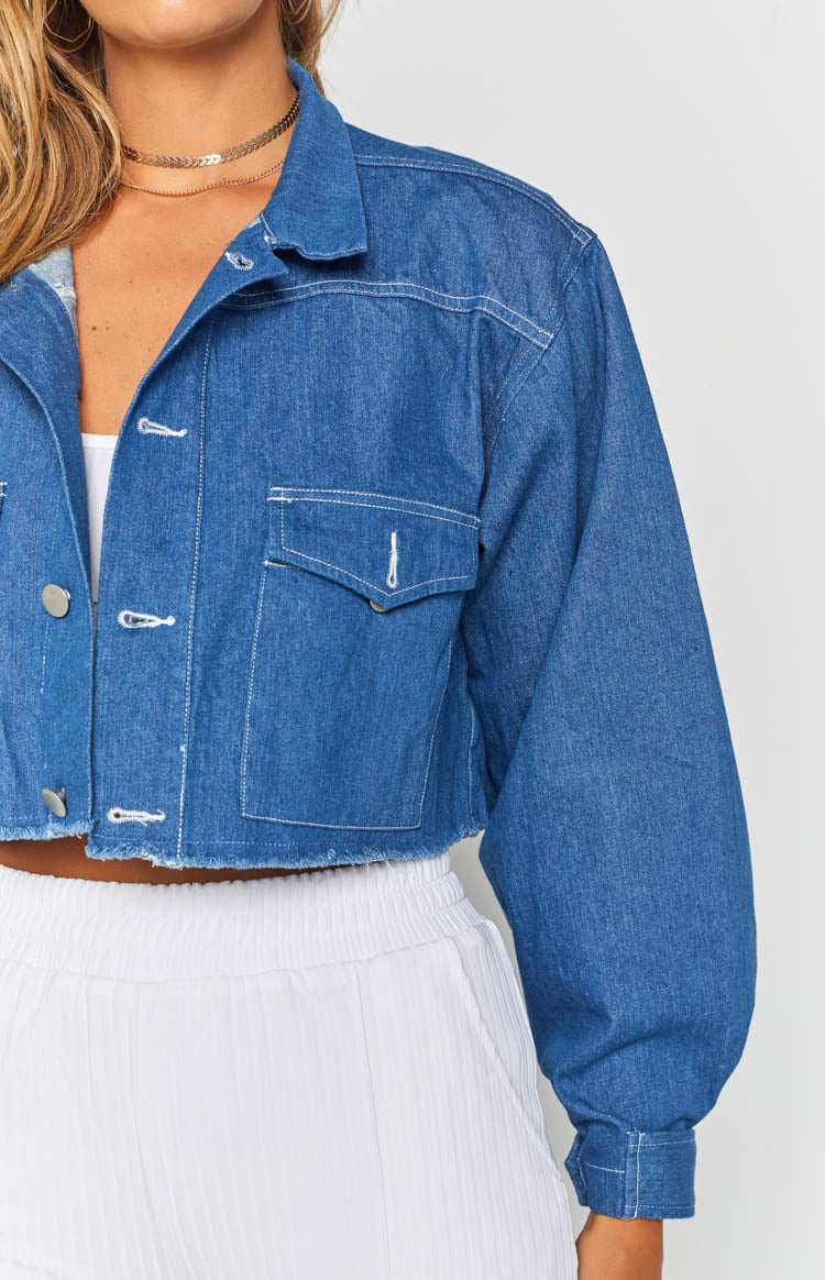 Venice Cropped Denim Jacket Blue