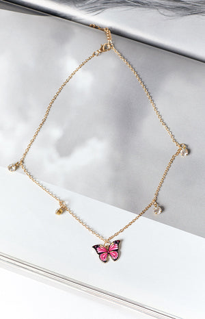 Eclat Crown Imperial Butterfly Necklace Gold